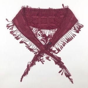 Maroon Fringe Crochet Scarf Wrap Coverup